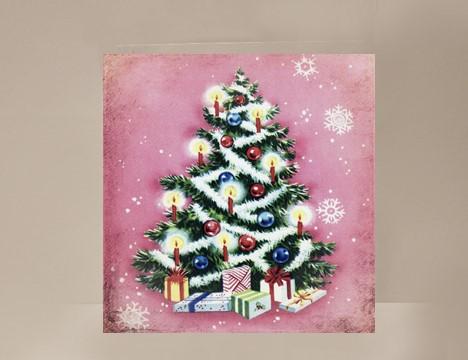 pink christmas tree mini card yesterdays best