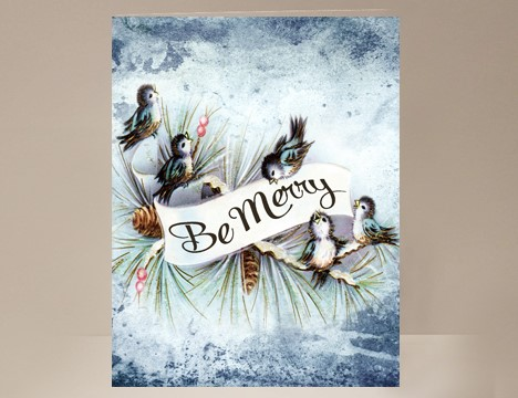 Christmas Card Be Merry Little Blue Birds  |  Yesterday's Best