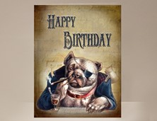 View Bulldog Birthday Card